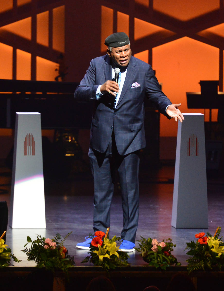 Comedian George Wallace performs to open the Heart of Education Awards for Clark County Teacher ...