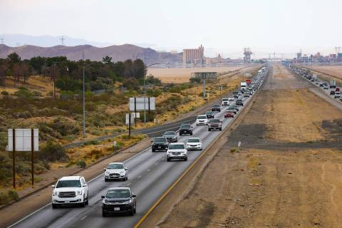 Traffic heading southbound on I-15, Sunday, May 16, 2021 outside Primm, Nev. (Rachel Aston/Las ...