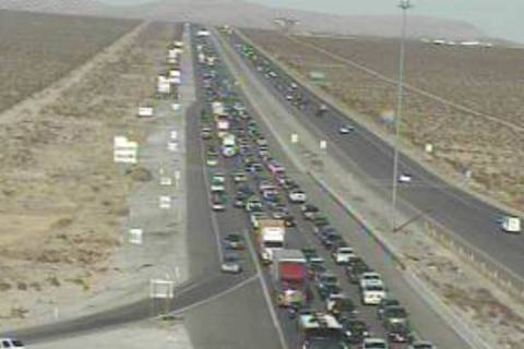 Traffic is backed up for 12 miles on southbound Interstate 15 near Primm on Saturday, Jan. 2, 2 ...