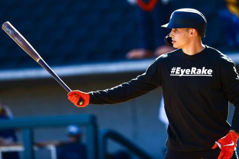 San Francisco Giants' Drew Robinson participates in batting practice at the Las Vegas Ballpark ...