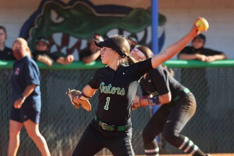 Green Valley's Avari Morris (1) pitches a strike to win the game against Coronado in the sevent ...