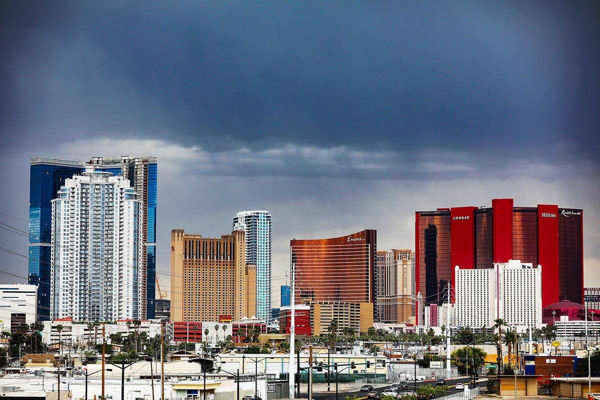 Storm clouds above the Las Vegas Strip Sunday, May 16, 2021. Isolated thunderstorms are expecte ...