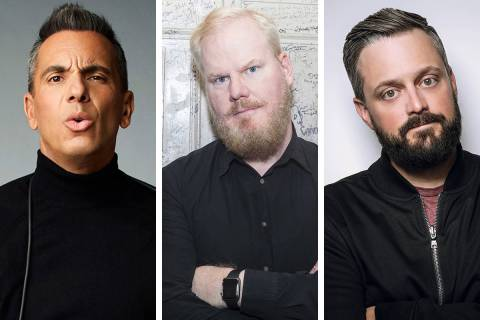 Sebastian Maniscalco, from left, Jim Gaffigan and Nate Bargatze are among the star stand-up com ...