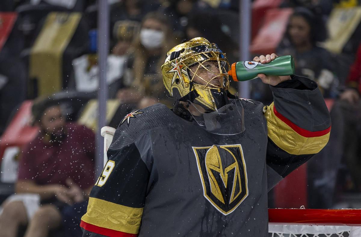 Golden Knights goaltender Marc-Andre Fleury (29) cools off on a break versus the Minnesota Wild ...