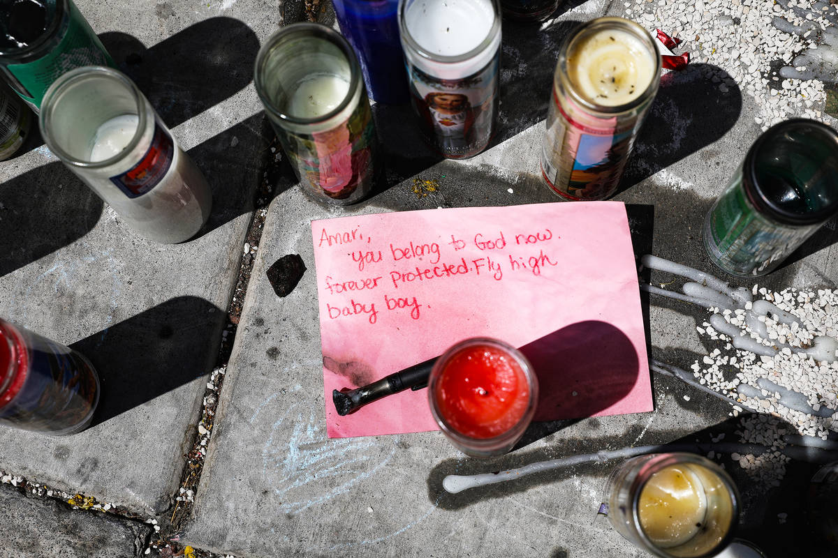 A note for 2-year-old Amari Nicholson, who was killed this month, near a balloon release in his ...