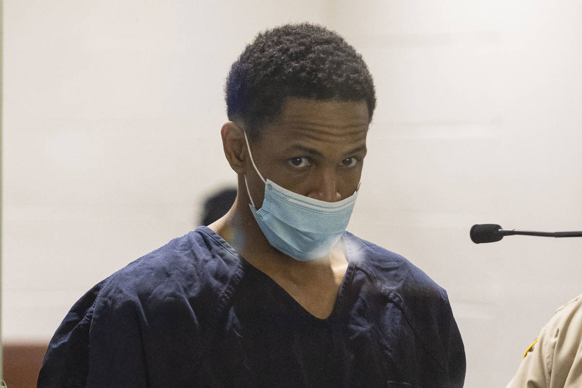 In this May 12, 2021, file photo, Terrell Rhodes charged with killing Las Vegas toddler Amari N ...