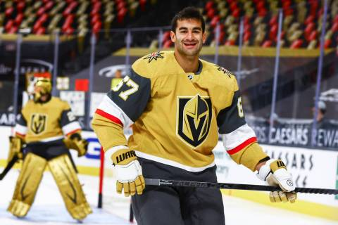 Golden Knights left wing Max Pacioretty (67) warms up before an NHL hockey game at T-Mobile Are ...