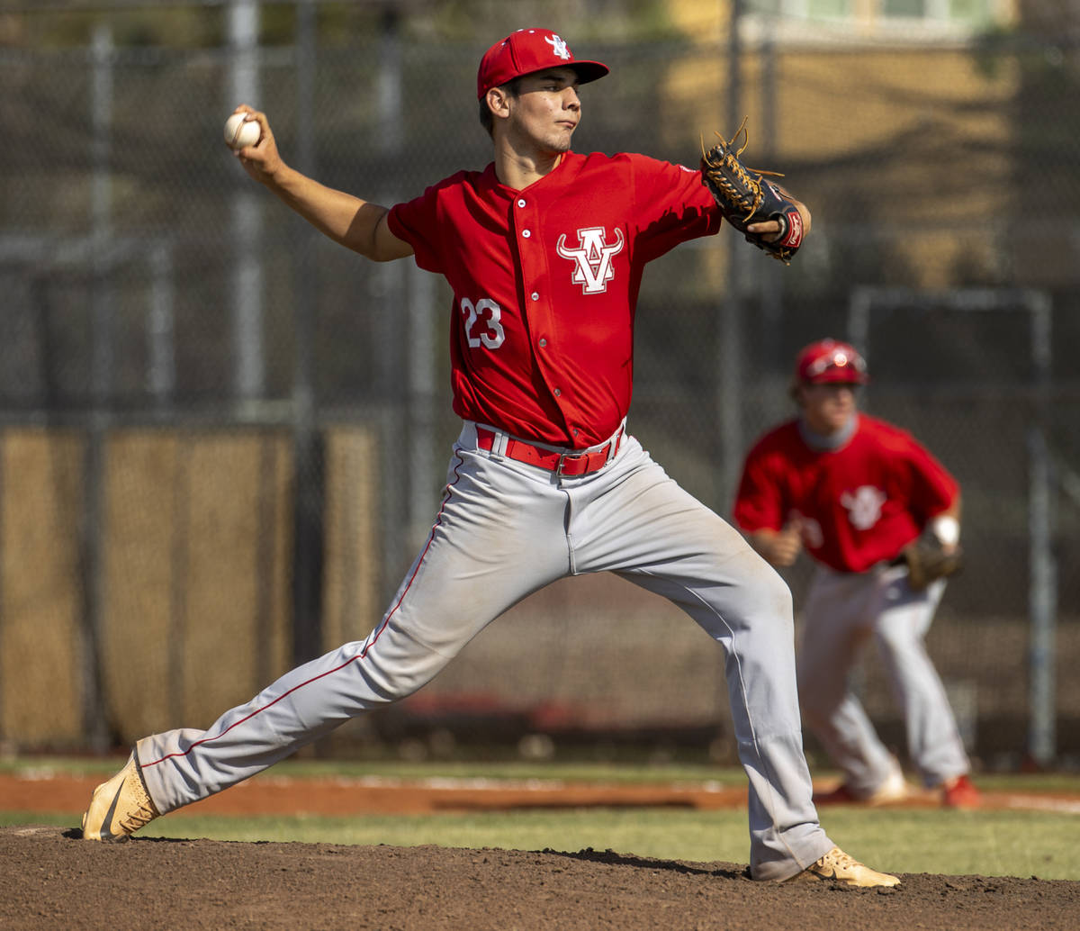 Arbor View pitcher Hunter Kublick (23) winds up on the mound versus Liberty during the first in ...