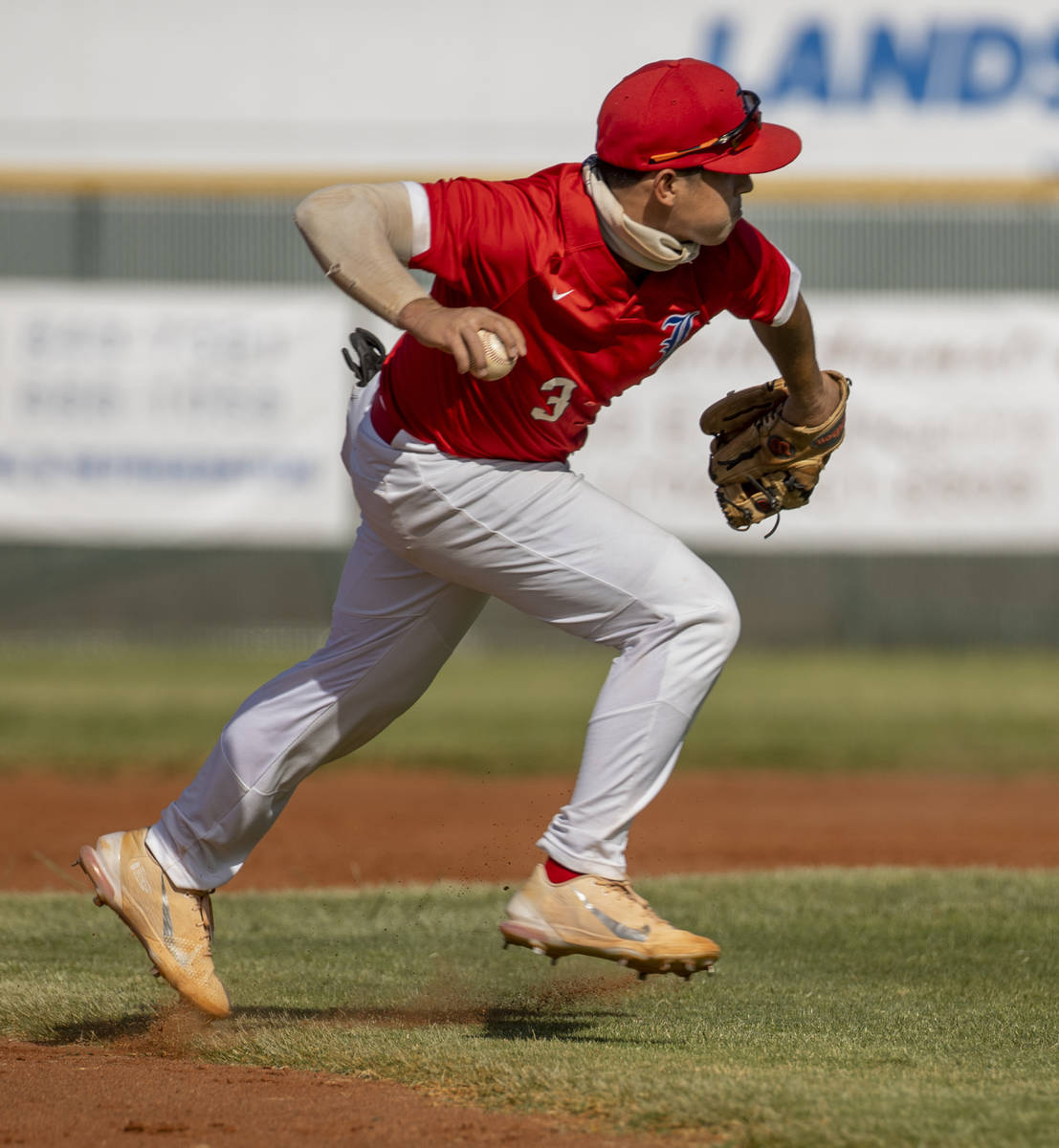 Liberty infielder Braiden Galvin (3) looks to throw to first base versus Arbor View during the ...