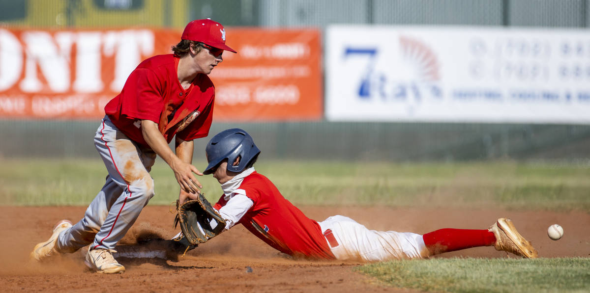 Arbor View infielder Park Roeder (10) bobbles a throw to second base as Liberty runner Bret Mat ...