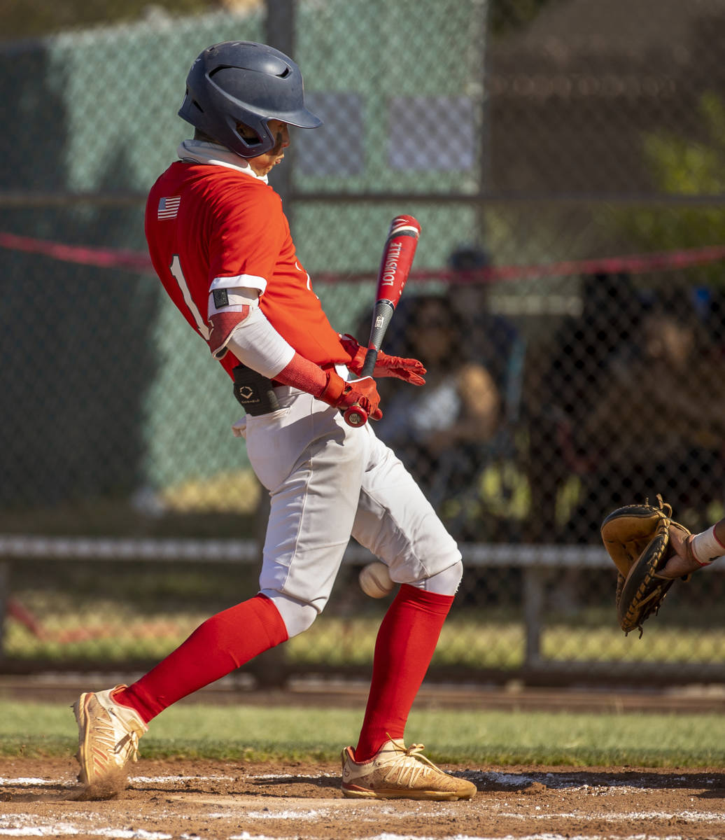 Liberty batter Bret Matson (1) turns away as heÕs hit by an Arbor View pitch during the se ...