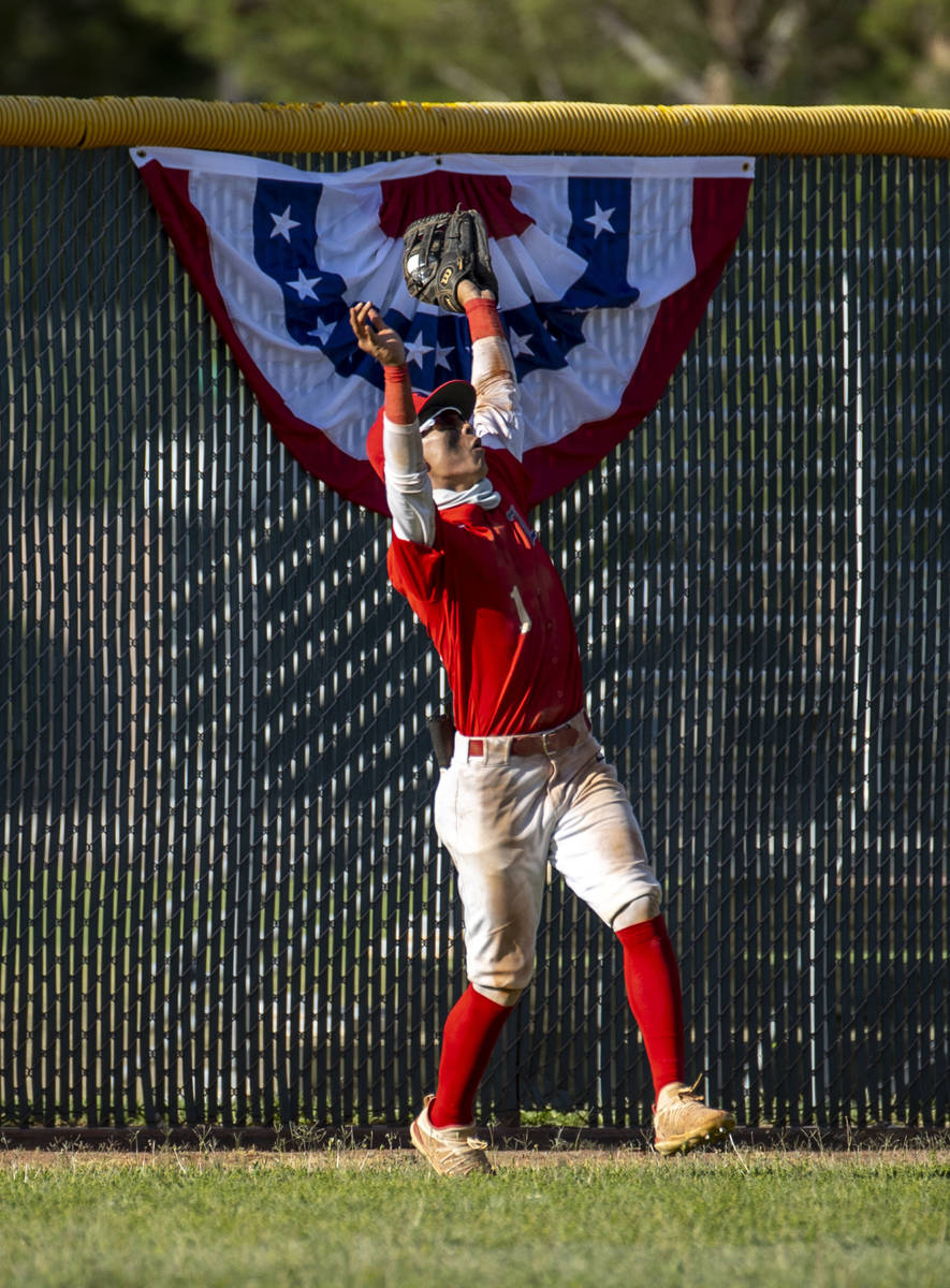 Liberty outfielder Bret Matson (1) goes deep for an out versus Arbor View during the fourth inn ...
