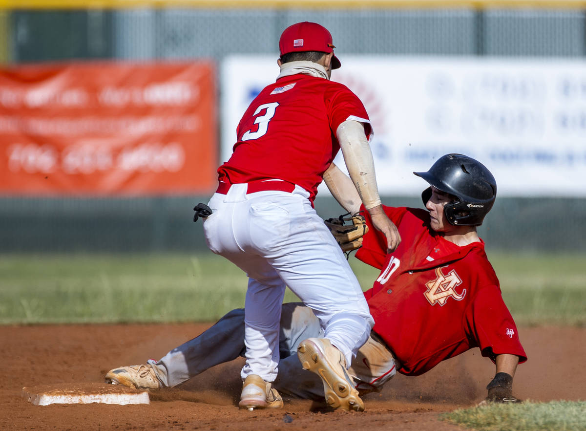 Liberty infielder Braiden Galvin (3) tags out Arbor View runner Park Roeder (10) during the thi ...