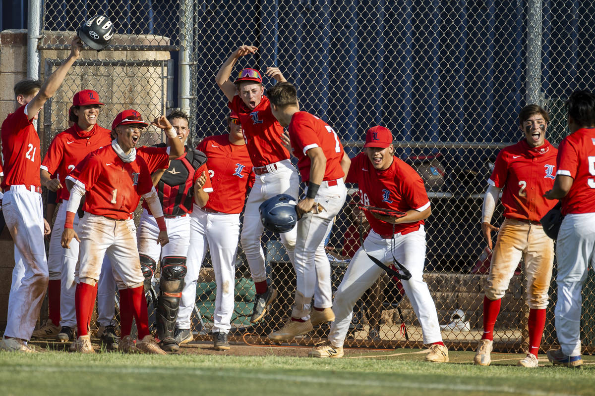 Liberty runner Chase Gallegos (7) is celebrated by teammates after scoring versus Arbor View d ...