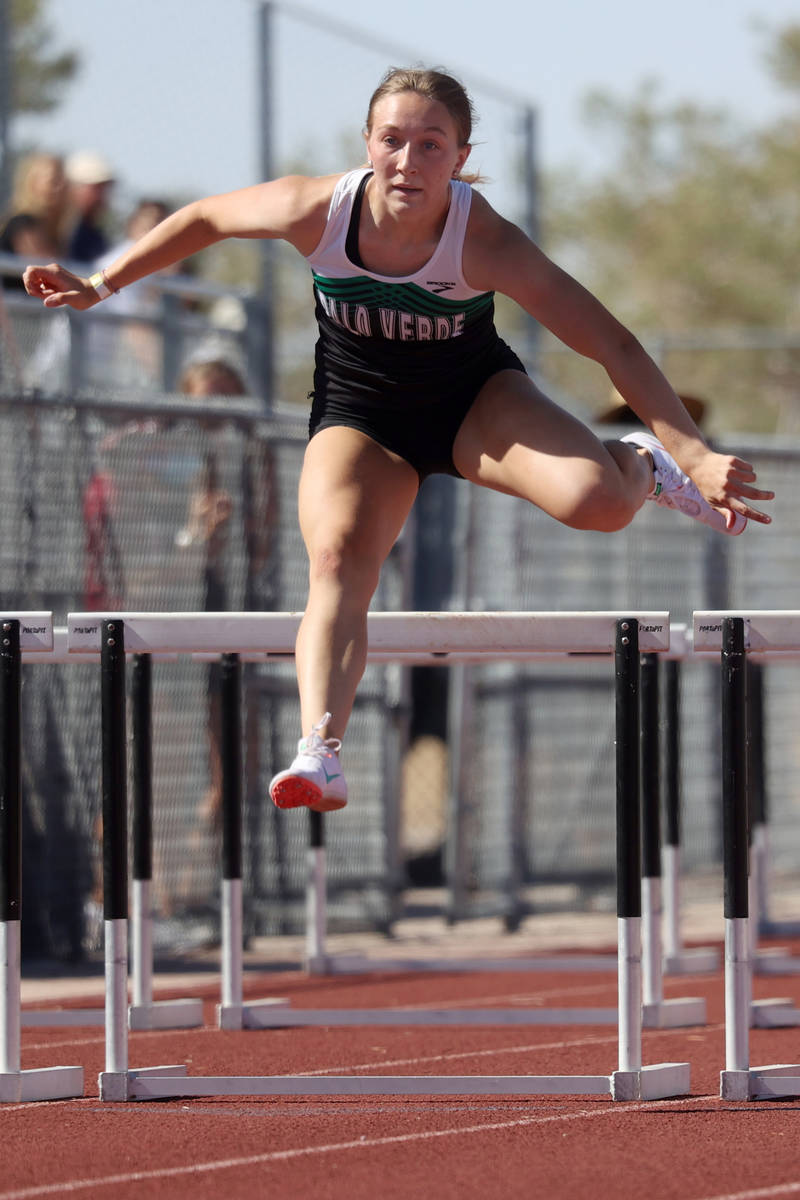 Palo Verde's Brynn McNabb wins the Girls 100 meter hurdle race in the Southern Nevada 4a Desert ...