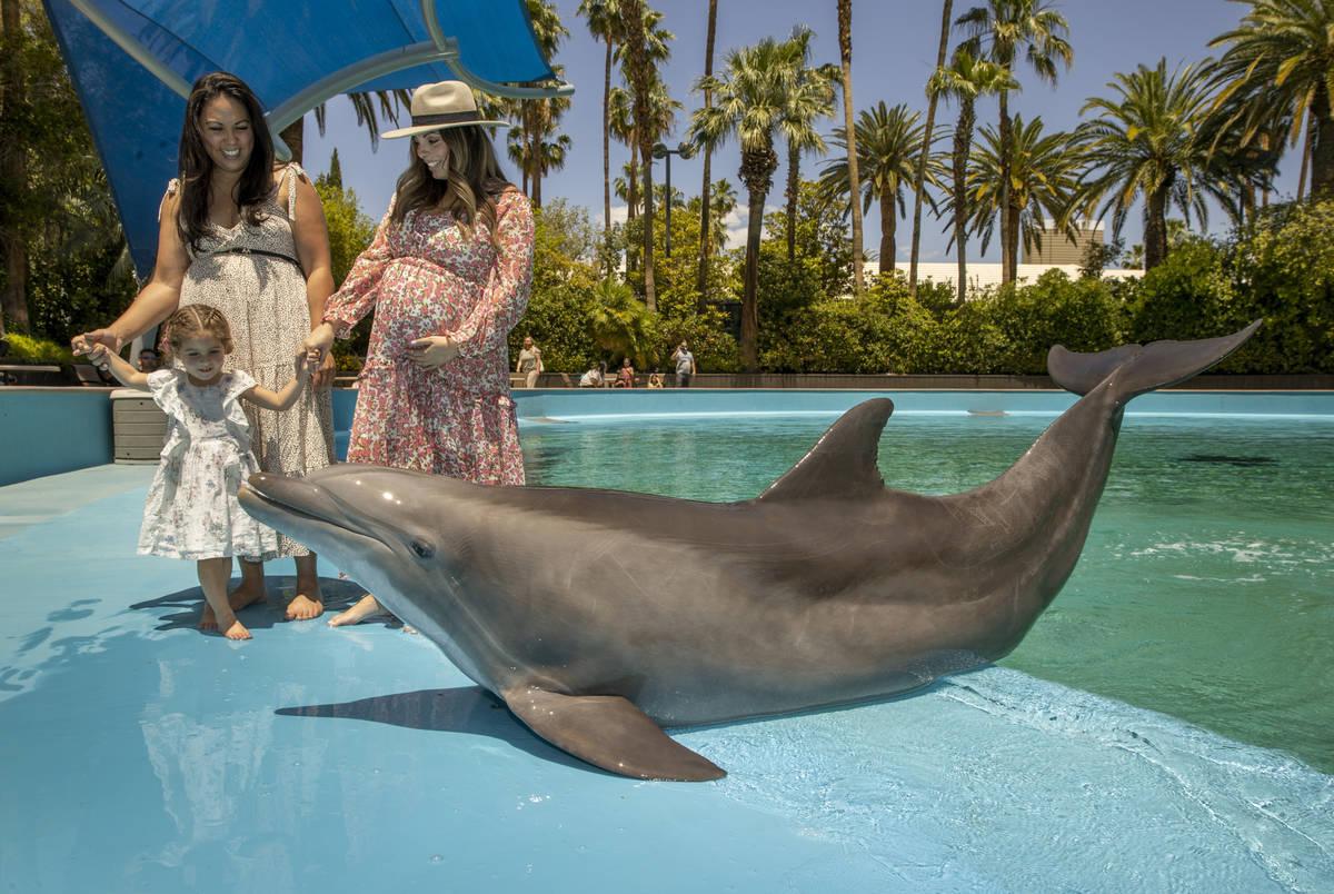 Rachel Villanueva, from left, and her daughter Sophie Santos, 3, with Alexandra Lourdes greet M ...