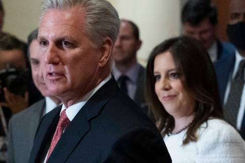 House Minority Leader Kevin McCarthy of Calif., speaks with reporters, joined by newly-elected ...