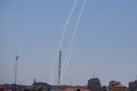 Rockets are launched from the Gaza Strip to Israel, Tuesday, May 18, 2021. Since the fighting b ...