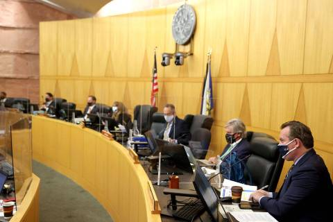 Clark County commissioners during a commission meeting in Las Vegas Tuesday, April 20, 2021. (K ...