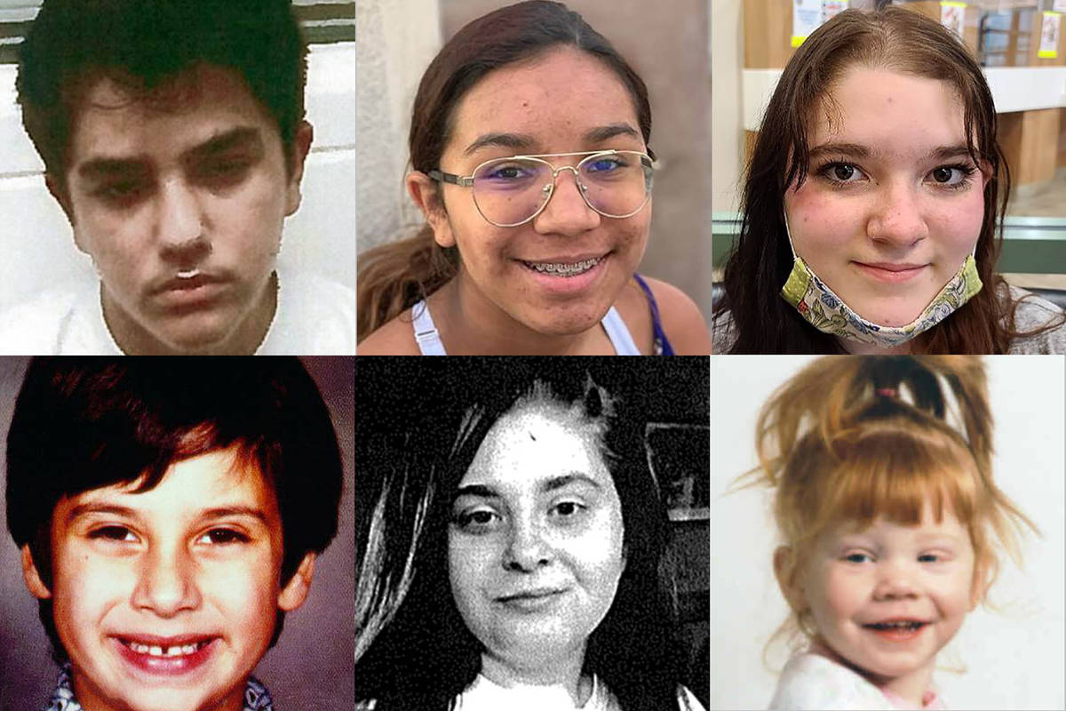Top: Austin Drake -- missing since Dec. 7, 2020, from Las Vegas. Now 17; Bella Smith, 14, missi ...