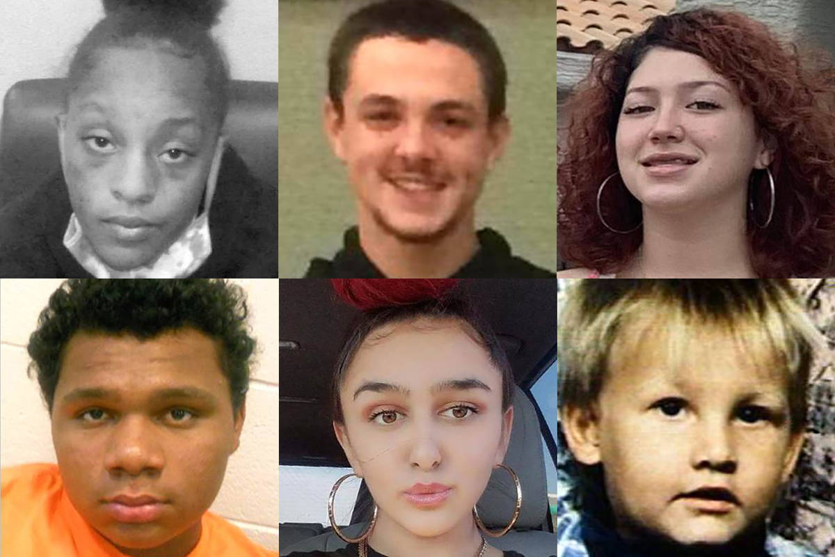 Top: Nevea Smith - 17, missing from Las Vegas since May 14, 2021; Nicholas Patterson - missing ...
