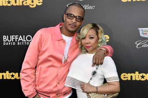 "T.I. and his wife Tameka ""Tiny"" Harris arrive at the Los Angeles premiere of ""Entourage"" at ..."