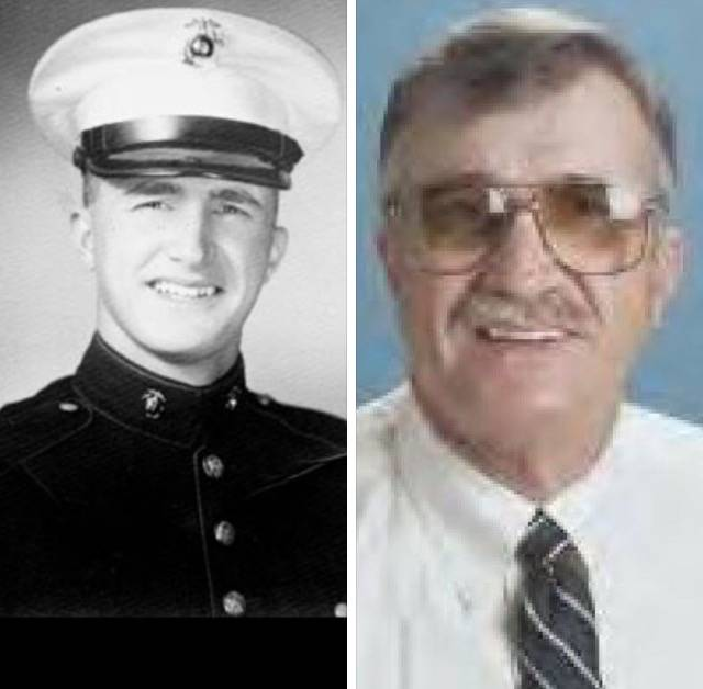 """Peter """"Chris"""" Christoff is pictured on the left as a young Marine in the 1950s. On the right, h ..."""