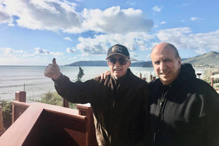 """Retired Marine Peter """"Chris"""" Christoff gives a thumbs up while on vacation with his longtime fr ..."""
