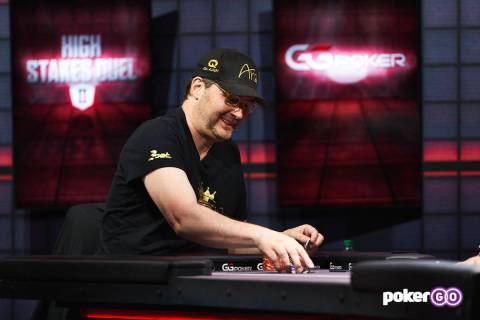 "Phil Hellmuth plays in the second round of his ""High Stakes Duel"" with Daniel Negreanu at the P ..."