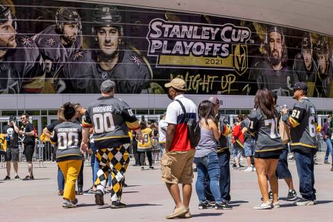 Golden Knights begin to trickle in before the first period of an NHL playoff game at the T-Mobi ...