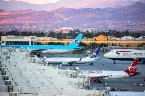 A British Airways flight arrives at McCarran International Airport. Rosemary Vassiliadis, who h ...