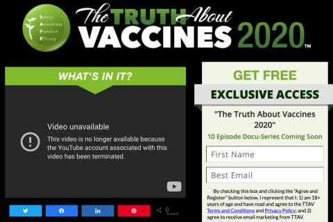 This Wednesday, May 19, 2021 image made from The Truth About Vaccines website, run by Ty and Ch ...