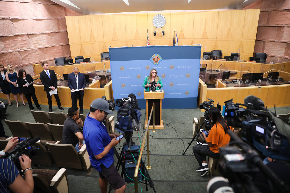 Clark County Commission chairman Marilyn Kirkpatrick speaks at a press conference to unveil a p ...