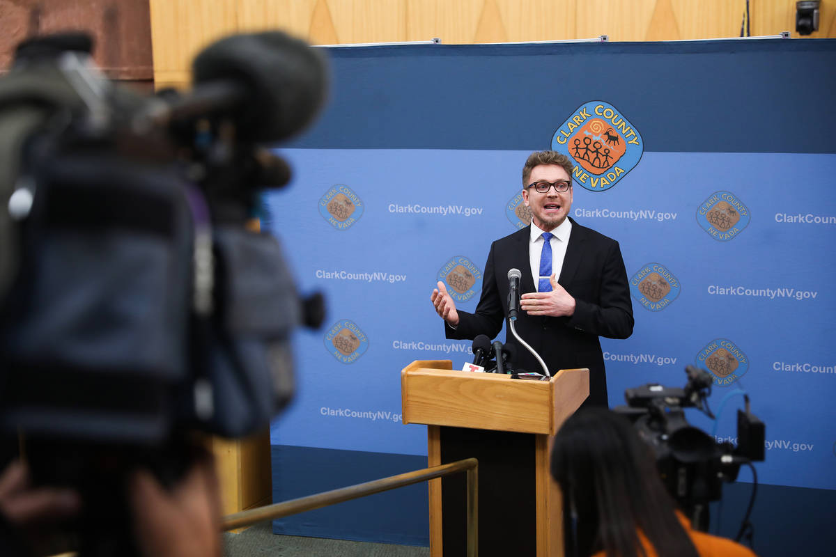 Attorney Jim Berchtold, with Legal Aid Southern Nevada, speaks at a press conference to unveil ...