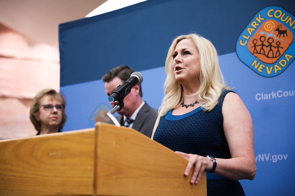 Las Vegas Justice Court Judge Melissa Saragosa speaks at a press conference to unveil a plan to ...