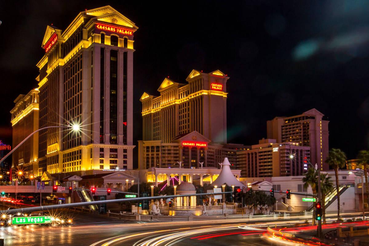 This March 15, 2020, file photo shows Caesars Palace in Las Vegas. (L.E. Baskow/Las Vegas Revie ...