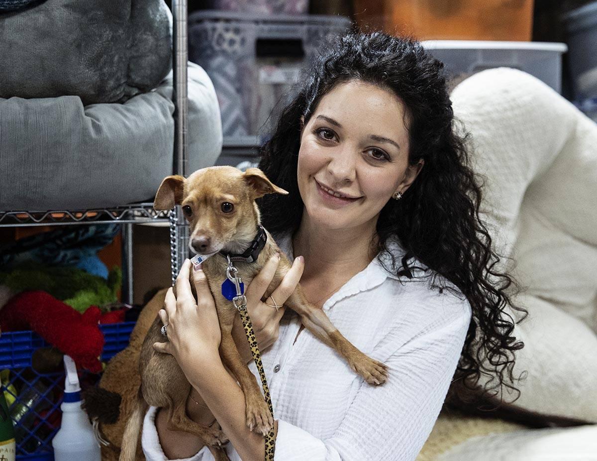 Francesca Fulciniti, left, executive director of Heaven Can Wait Animal Society, holding Honey, ...