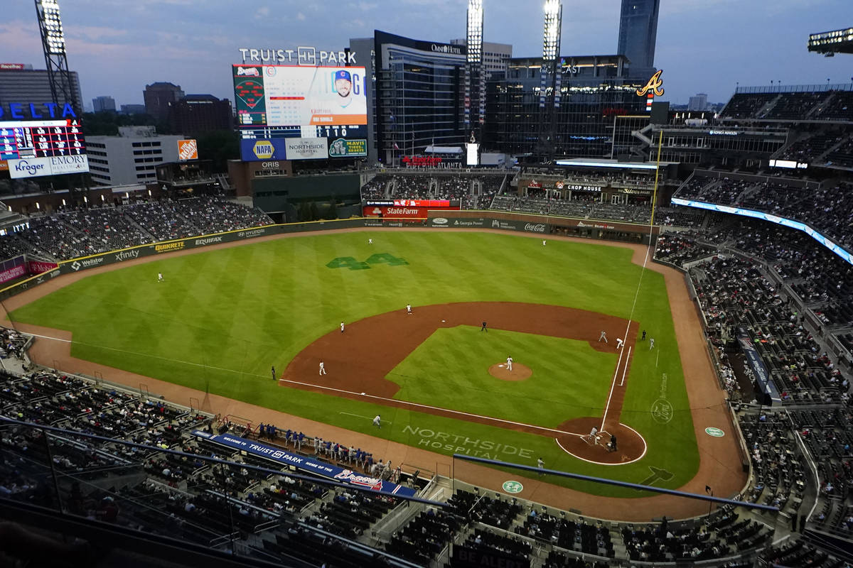 The Chicago Cubs play the Atlanta Braves at Truist Park in a baseball game Thursday, April 29, ...