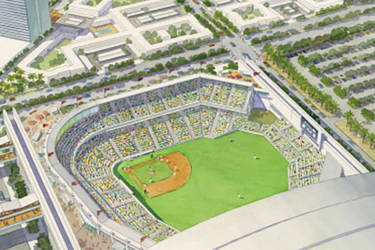 A rendering shows the proposed location for a ballpark in Henderson. (City of Henderson) Tag