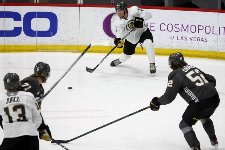 Golden Knights forward Jack Dugan (8) during a scrimmage on the first day of training camp at C ...