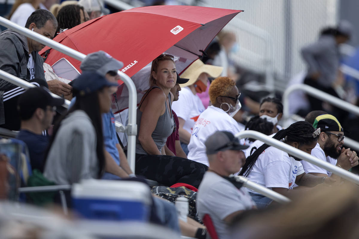 Fans shaded themselves with umbrellas during the class 5A Southern Region boys and girls track ...