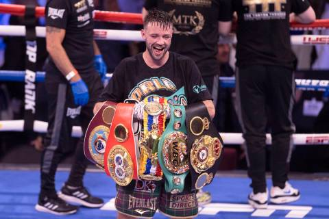 Josh Taylor celebrates after defeating JosŽ Ram'rez by unanimous decision during t ...