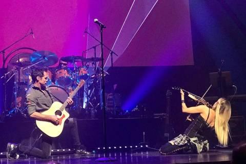 "Brody Dolyniuk and Nina DiGregorio perform during ""British Rock Royalty"" at Reynolds Hall at th ..."