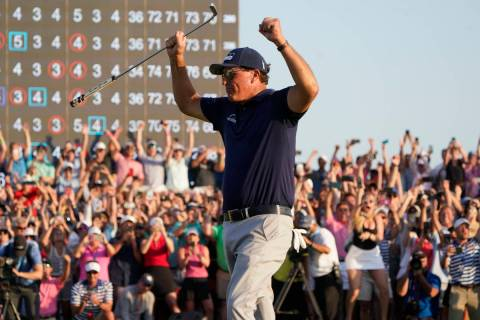 Phil Mickelson celebrates after winning the final round at the PGA Championship golf tournament ...