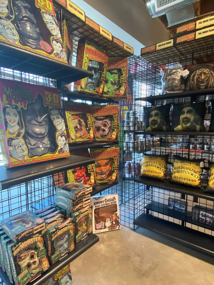 Horror-themed masks on display at Nightmare Toys in the Las Vegas Arts District. (Al Mancini/La ...