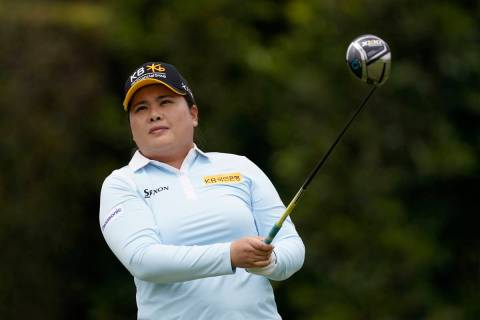 Inbee Park tees off at the second hole during the final round of the LPGA's Hugel-Air Premia LA ...