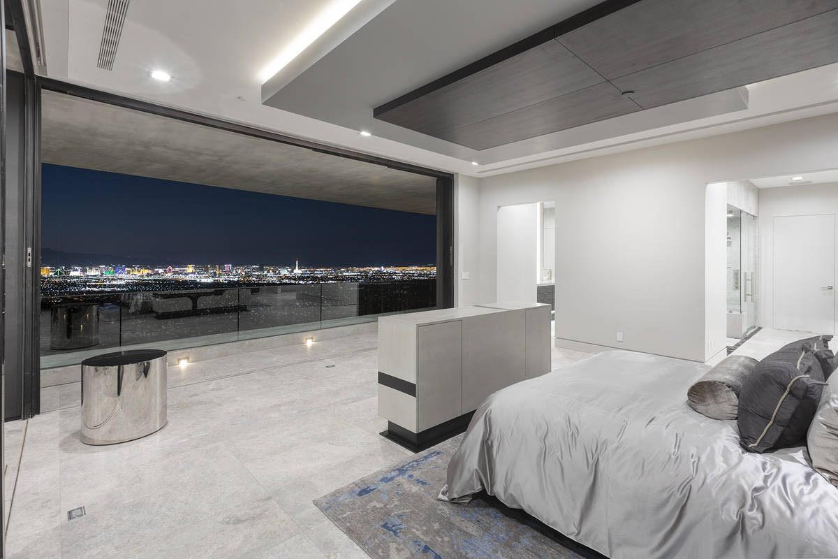 The way the master bedroom is designed it appears as if the Las Vegas Strip has been framed. (S ...