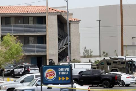 Las Vegas police work a barricade situation at the Highland Inn Motel on Dean Martin Drive nort ...
