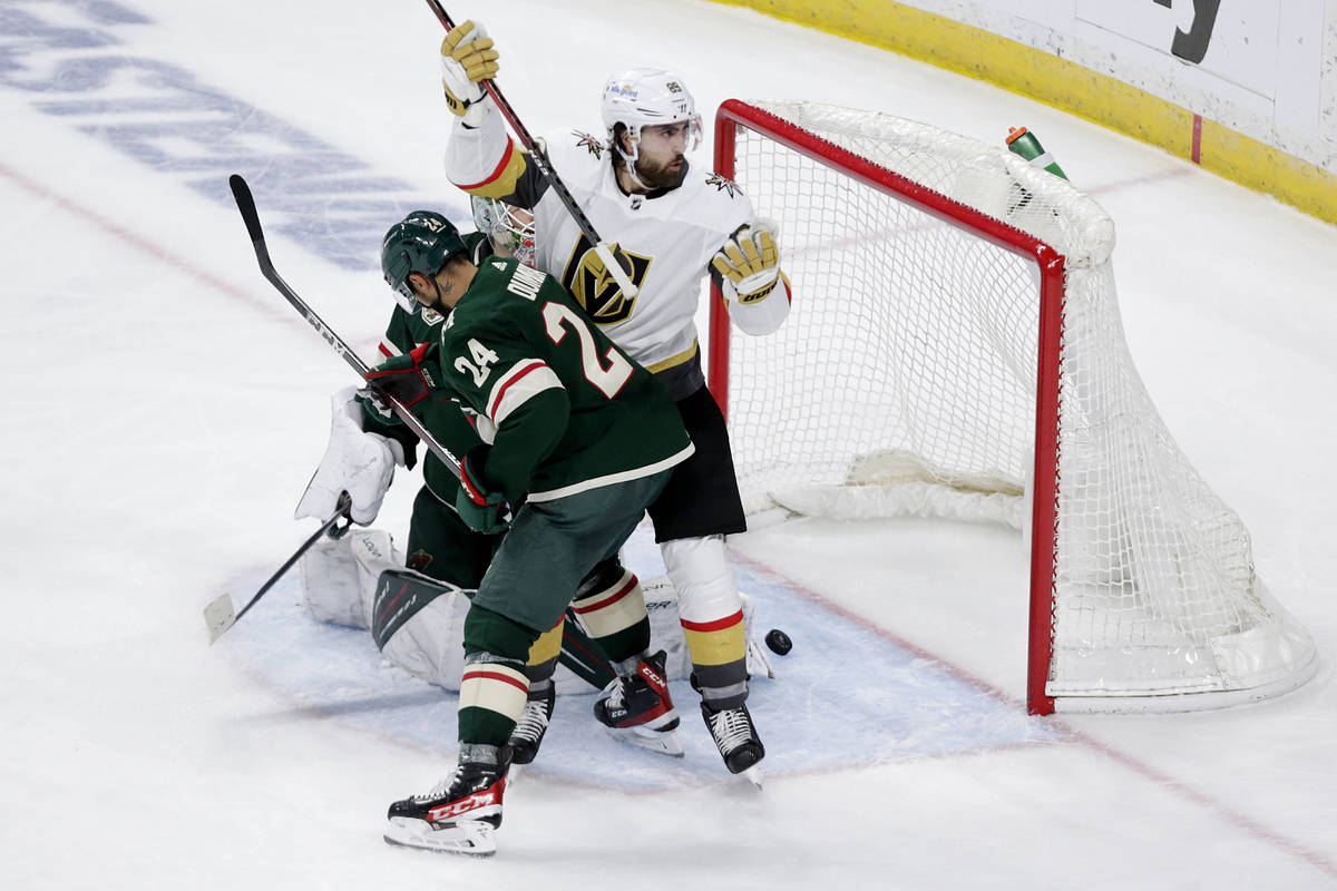 Vegas Golden Knights right wing Alex Tuch (89) is called for goalie interference on an apparent ...