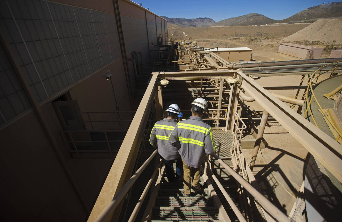 Michael Rosenthal, right, chief operating officer of Las Vegas-based company MP Materials, and ...